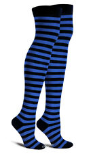 Blue n Black Thigh High Striped  Socks Anime Punk Emo Cosplay School Crazy Hot