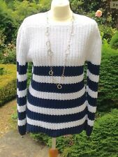 Reiss Breton Nautical Stripe Navy And White Cable Knitted Jumper Size M 10 12