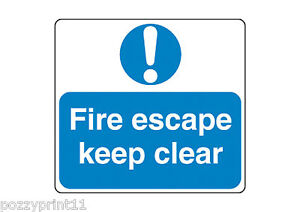 FIRE ESCAPE KEEP CLEAR SIGN corflute stairs fire exit safety workplace signage