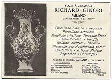 PUBBLICITA' RICHARD GINORI VASO ANFORA CERAMICHE ARTISTICHE STABILIMENTI 1925
