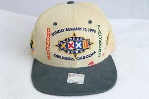 NFL Super Bowl XXXII 32 1998 Broncos Packers Leather Strap Hat Cap New Era PIN