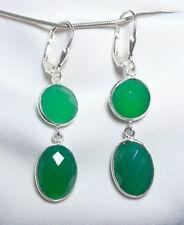 Smaragd Ohrhänger 925 Silber Klappbrisur, große, facettierte Edelsteine - neu -