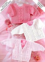 (44) DK Crochet Pattern for Baby Boy Girl Cardigans & Sweater, Premature 14-20''