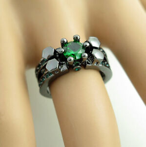 Hot Betsey Johnson Green Crystal Black Colour Ring Size 6 Valentine's Day Gift