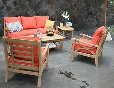New 5 Piece Teak Wood Sofa Set Outdoor Patio Deck Furniture Red Orange Cushions