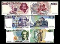 2x  5.000, 10.000, 50.000 Lire - Ausgabe 1984 - 1985 - Reproduktion - 02