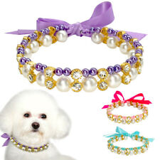 Pearl Dog Collar Necklace Rhinestone Puppy Jewellery for Small Dogs Yorkie Pug
