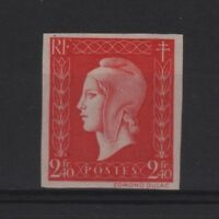 "FRANCE STAMP YVERT 693a "" MARIANNE DULAC 2F40 RED 1945 IMPERF "" MNH VVF T121"