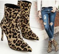 Womens Sexy Leopard Stilettos Ankle Boots Pointed Toe High Heel Suede Shoes Size