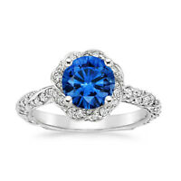 2.10 Ct Round Real Blue Sapphire Diamond Engagement Ring 14K White Gold Size 6