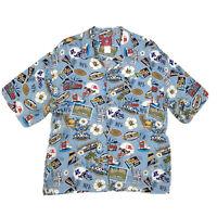 NFL Apparel SUPER BOWL Hawaiian Camp Shirt Mens XL Blue XXXVII San Diego Aloha
