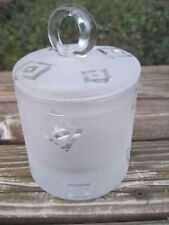 Robert McCandless Glass Frosted Jam Jar Sugar Bowl Geometric Design Signed HTF