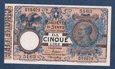BILLET de BANQUE d'ITALIE - 5 LIRE Pick n° 23.e du 19.10.1904 en SPL 5163 019409