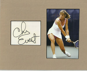 Chris Evert Signed matted with photo  frame size 8x10 COA F20