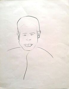 Michael Gross: Man Portrait / Israeli Jewish Minimalism Contemporary S/Pencil