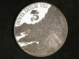 TURKEY 1982 3000 Lira International Year of the Scout Silver Crown Proof