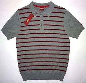 MERC MENS STRIPE KNIT POLO IN MINERAL MARL SIZE M NWT