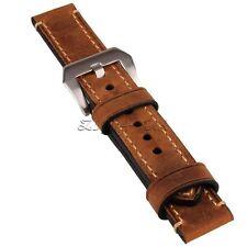 20mm Brown Genuine Leather Men Watchband Strap Wristwatch Watch Band