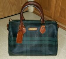 Vintage Polo RALPH LAUREN Green Plaid Leather Duffle Speedy Bag Purse def86b97d9127