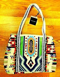 AMERICA & BEYOND BEADED JUTE AZTEC NAVAJO INDIAN One Of A Kind XL TOTE PURSE NEW
