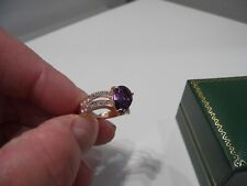 Ladies 10K Yellow Gold Filled Teardrop Mauve Amethyst Ring with Diamonds Size P