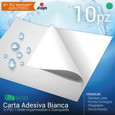 Carta ADESIVA A4 bianca LUCIDA * stampanti laser * 10 fogli * PVC VINILE ReG