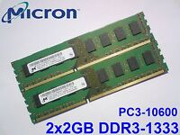 4GB 2x 2GB DDR3 1333 Mhz PC3-10600U MICRON MT16JTF25664AZ-1G4F1 PC DESKTOP RAM