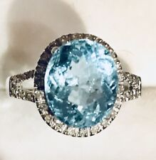 4Ct Natural Blue Topaz &  Real Diamonds in 14K Solid White Gold Women Ring