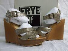 Frye Size 7 M Alexa Bronze Leather Open Toe HEELS Womens Shoes