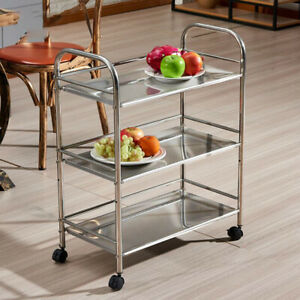 Edelstahl Servierwagen Küchenwagen Rollwagen Küchentrolley +3 Etagen Küche Wagen