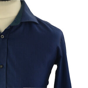 Ted Baker Mens Shirt 16 Endurance Classic Fit Long Sleeve Double Cuff Blue Butto