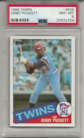 1985 TOPPS #536 KIRBY PUCKETT, PSA 8 NM-MT, ROOKIE, HOF, MINNESOTA TWINS, L@@K !
