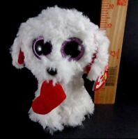 "Ty Valentines Day Honey Bun Poodle Beanie Boos Plush Stuffed Animal Toy New 6"""
