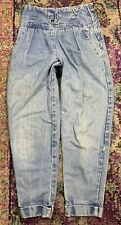 VTG 80s Georges Marciano SZ 27x26 Tapered High Waist Denim Side Metal Zip