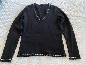Stunning Brora Scotland black cashmere jumper $400 crochet lace trim size 10-14