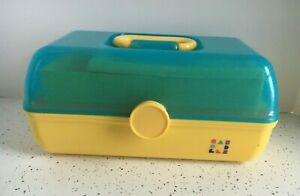 Vintage Caboodles MakeUp Case with Mirror YELLOW and Blue GLITTER with TRAY!!!