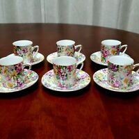 VINTAGE ROYAL CROWN CHINTZ DEMITASSE FLORAL WILDFLOWER CUPS AND SAUCERS SET OF 6