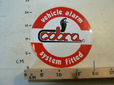 STICKER,DECAL COBRA VEHICLE ALARM SYSTEM FITTED  LARGE SNAKE SLANG 22 CM