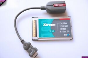 XIRCOM PCMCIA PC CARD CARDBUS MODEM 56k+ 10/100 LAN REF CBEM56G-100 + DONGLE