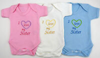 I Love My Sister or Sisters Babies Vest Grow Boy Girl Baby Clothes Funny Gift