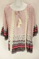 KORI AMERICA Multi Color 3/4 Sleeve V-Neckline Blouse Shirt Women's Size Small
