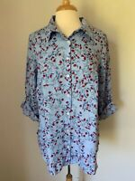 Charter Club Women's Top Plus Size 3X Blue Linen Cuffed 3/4 Sleeves NWT $79