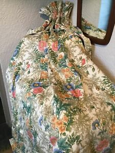 Vintage Moygashel 'Marianne' Poppies Cotton Lined Curtains-floral, Chintz  #6268