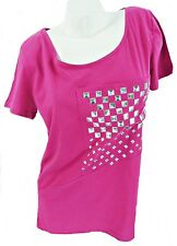 SHORT SLEEVE SCOOP NECK CERISE STUDDED T-SHIRT TOP, BOOHOO S/M - UK 8-12 LT067