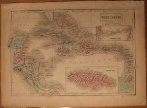 """1856 Black's West Indies - Map 17.2"""" x 12.6"""" - Antique - S. Florida Cuba + more"""