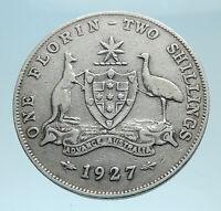 1927 AUSTRALIA - UK King George V Kangaroo Silver Florin Australian Coin i78280