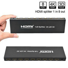 1x8 HDMI Splitter 8 Ports HDMI Switcher Audio Video Full HD 4K 1080P New