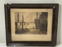 Antique Lithograph Engraving Of St Ives Cornwall Signed Alexander Pyle