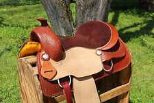 "16"" ROUGH OUT WESTERN LEATHER COWBOY HORSE PLEASURE TRAIL RANCH SADDLE TACK"
