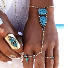 Women Vintage Turquoise Chain Bracelet With Finger Ring Bangle Bohemian Fashion